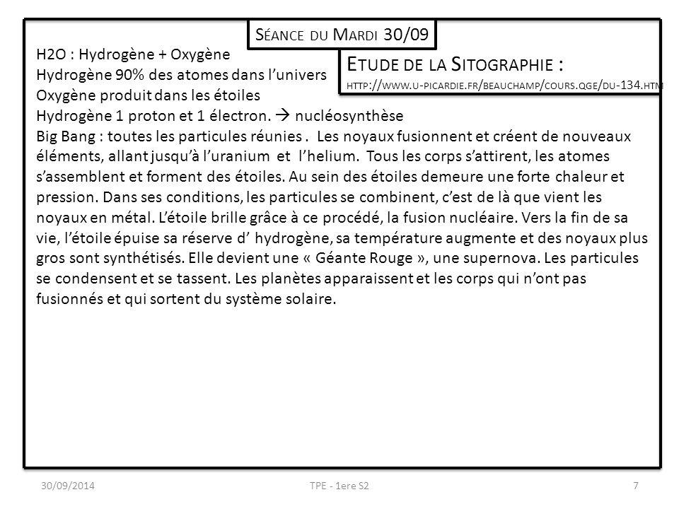 30/09/2014TPE - 1ere S27 S ÉANCE DU M ARDI 30/09 E TUDE DE LA S ITOGRAPHIE : HTTP :// WWW. U - PICARDIE. FR / BEAUCHAMP / COURS. QGE / DU -134. HTM H2