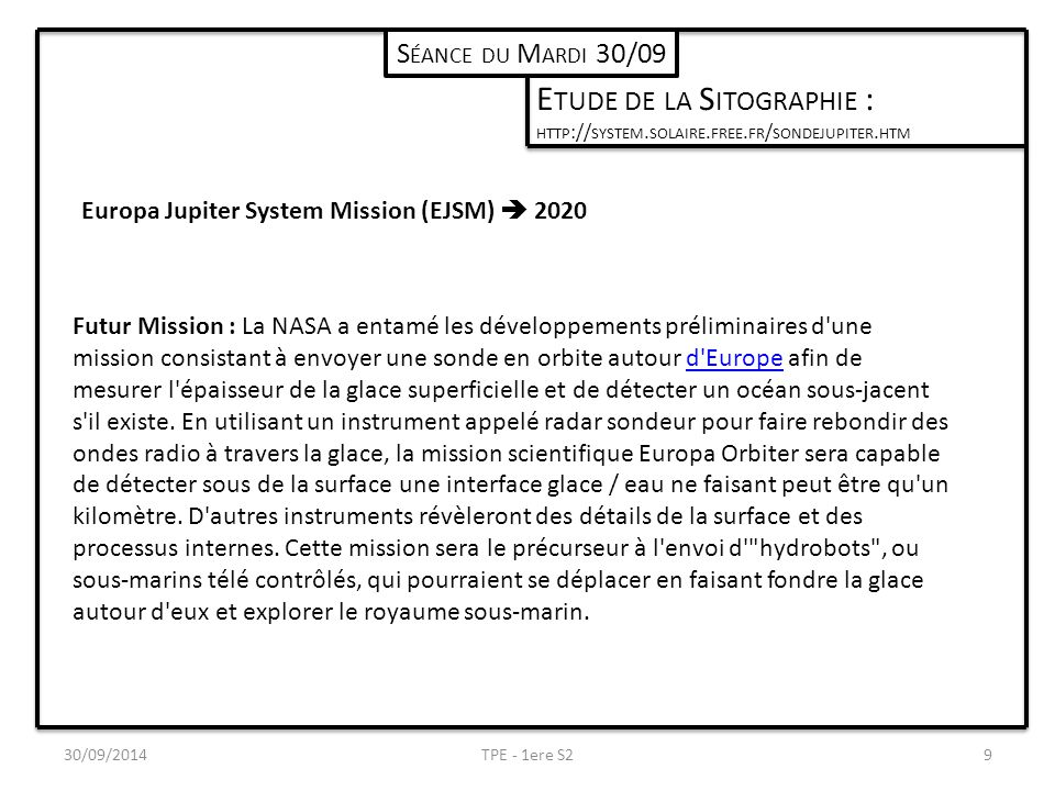 30/09/2014TPE - 1ere S29 S ÉANCE DU M ARDI 30/09 E TUDE DE LA S ITOGRAPHIE : HTTP :// SYSTEM.
