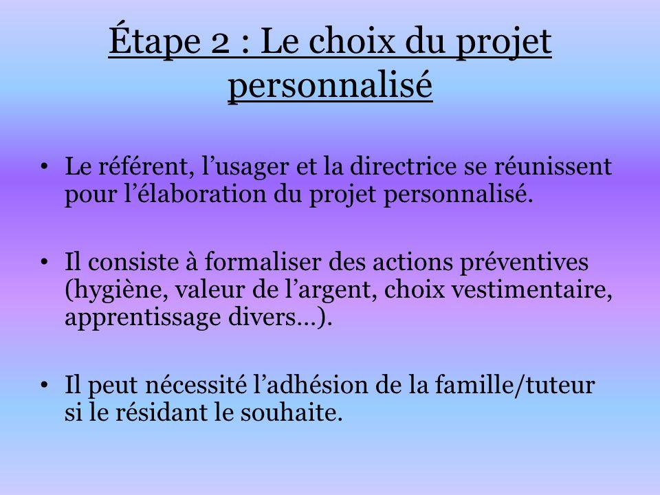 Étape 2 : Le choix du projet personnalisé Le référent, l'usager et la directrice se réunissent pour l'élaboration du projet personnalisé. Il consiste
