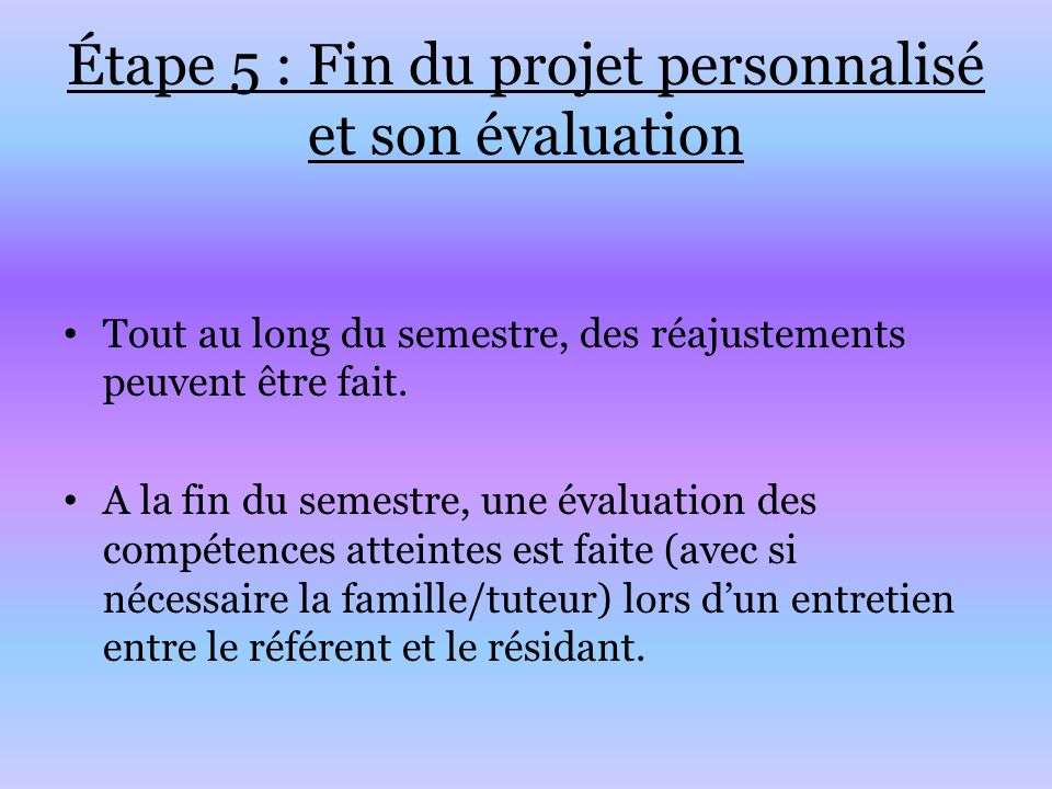Étape 5 : Fin du projet personnalisé et son évaluation Tout au long du semestre, des réajustements peuvent être fait. A la fin du semestre, une évalua