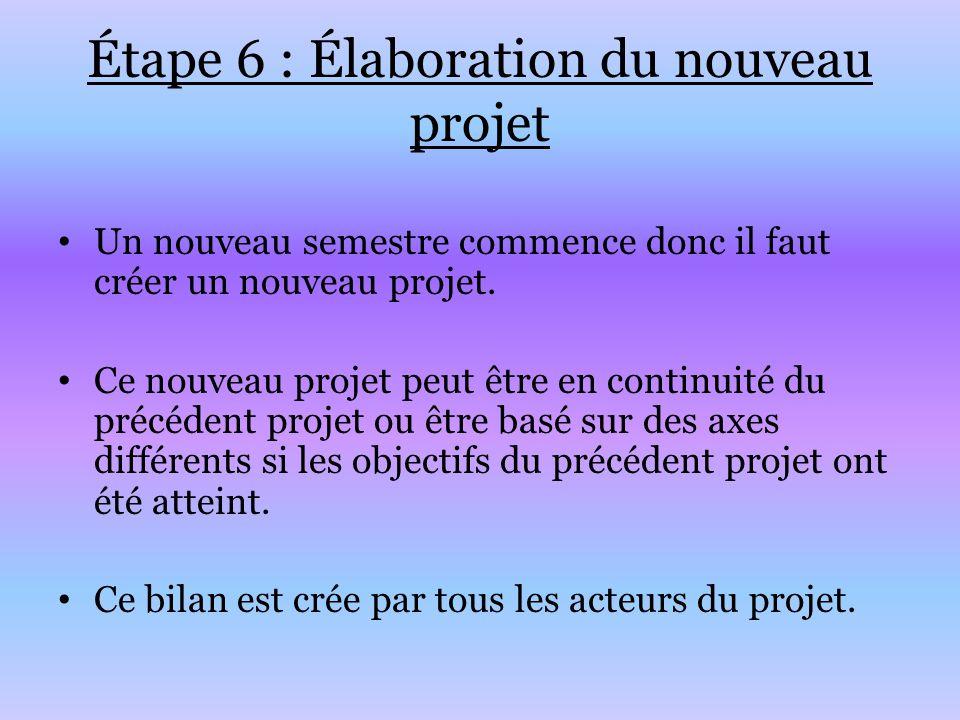 Étape 6 : Élaboration du nouveau projet Un nouveau semestre commence donc il faut créer un nouveau projet. Ce nouveau projet peut être en continuité d