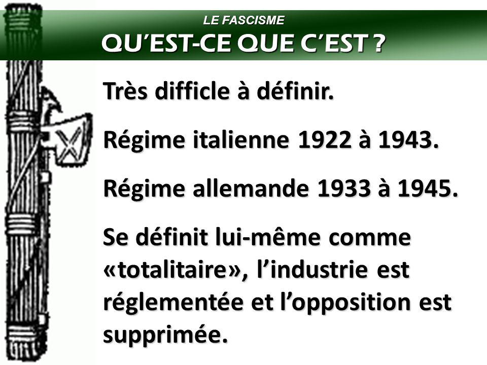 CANADA ET LA SECONDE GUERRE MONDIALE  LE FASCISME  Un nouveau mouvement politique fondé en Italie par Benito MUSSOLINI.