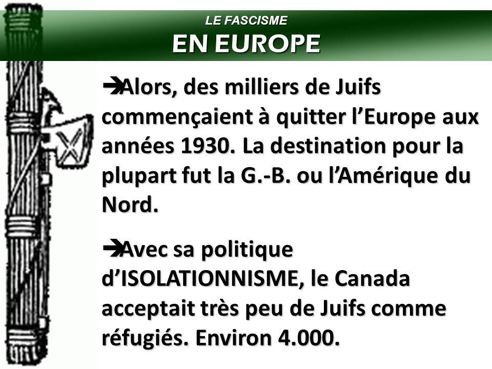 LE FASCISME EN EUROPE  Au cours des années 1930, le fascisme/nazisme en Europe est devenu assez populaire.