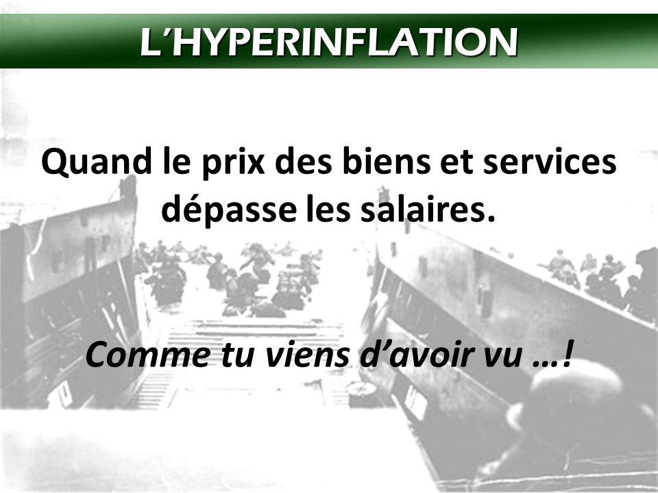 L'HYPERINFLATION Quand le prix des biens et services dépasse les salaires.