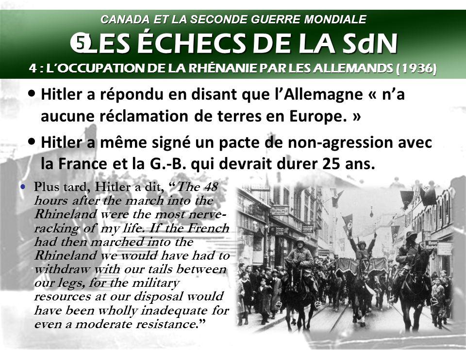 Ceci a commencé le 7 mars 1936 avec la marche de seulement 19 bataillons et quelques avions.
