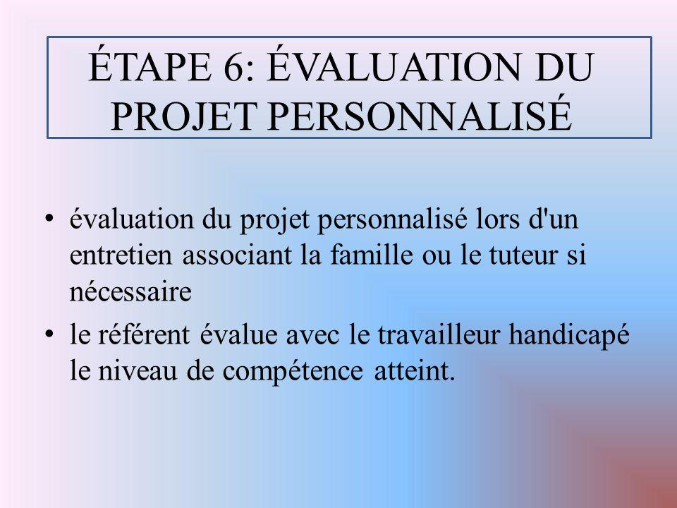 ÉTAPE 6: ÉVALUATION DU PROJET PERSONNALISÉ évaluation du projet personnalisé lors d un entretien associant la famille ou le tuteur si nécessaire le référent évalue avec le travailleur handicapé le niveau de compétence atteint.