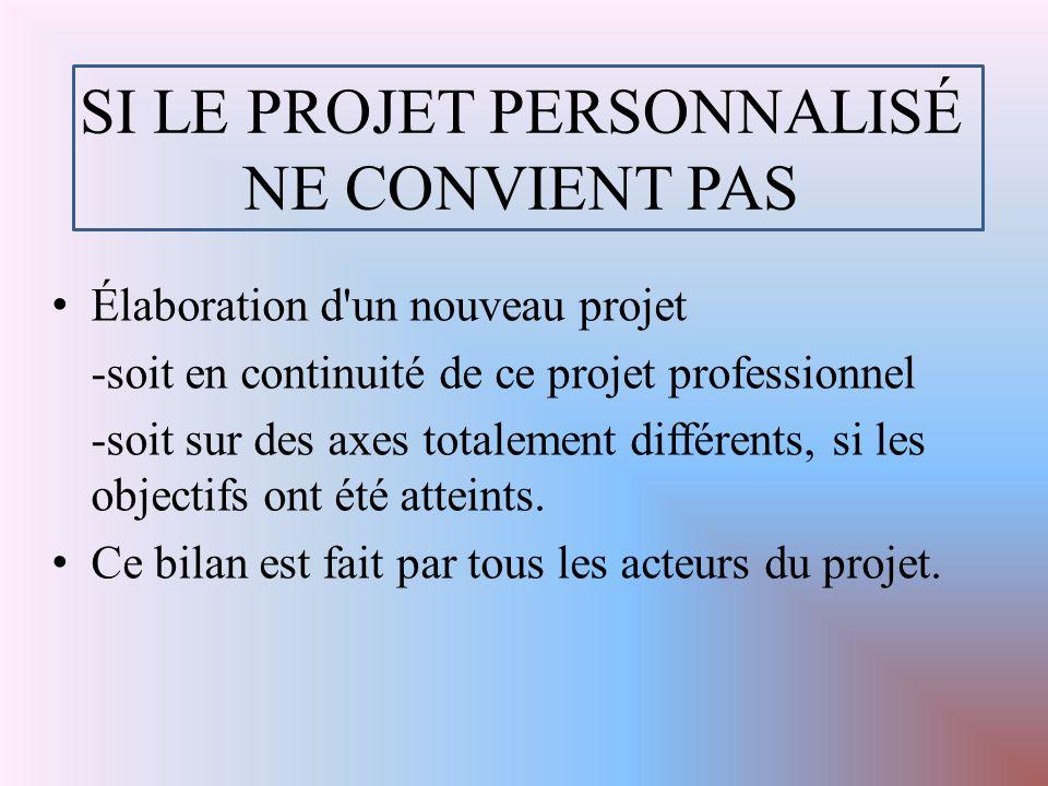 SI LE PROJET PERSONNALISÉ NE CONVIENT PAS Élaboration d un nouveau projet -soit en continuité de ce projet professionnel -soit sur des axes totalement différents, si les objectifs ont été atteints.