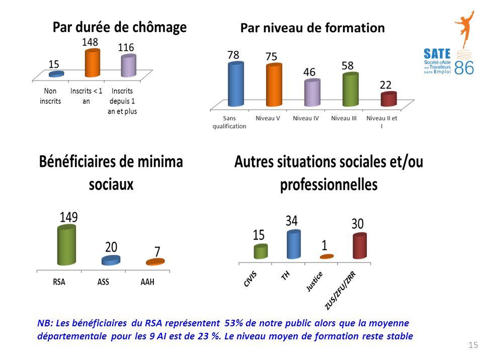 NB: Les bénéficiaires du RSA représentent 53% de notre public alors que la moyenne départementale pour les 9 AI est de 23 %.