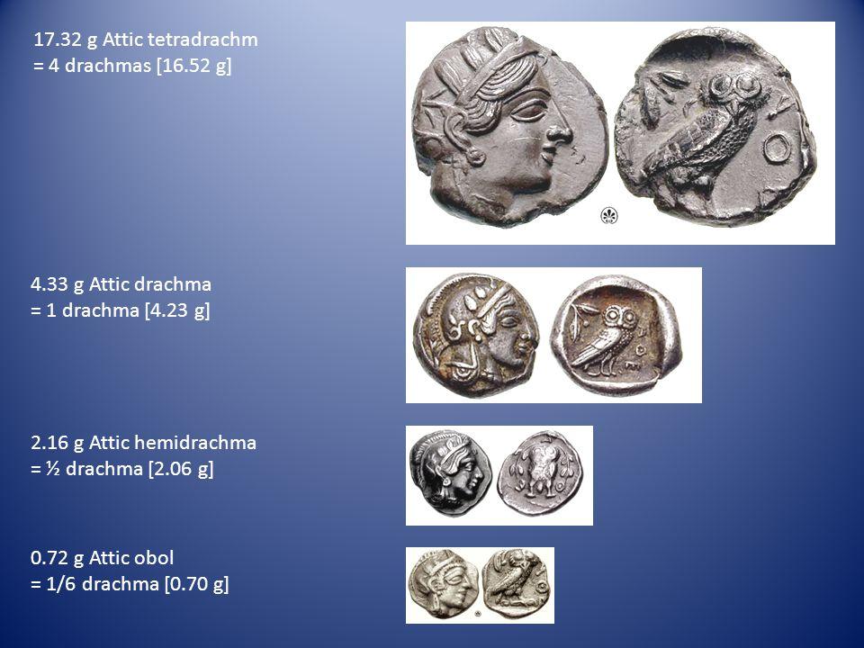 4.33 g Attic drachma = 1 drachma [4.23 g] 17.32 g Attic tetradrachm = 4 drachmas [16.52 g] 2.16 g Attic hemidrachma = ½ drachma [2.06 g] 0.72 g Attic