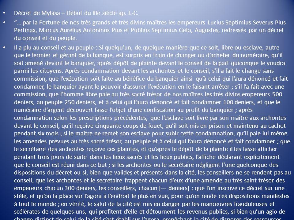 """Décret de Mylasa – Début du IIIe siècle ap. J.-C. """"… par la Fortune de nos très grands et très divins maîtres les empereurs Lucius Septimius Severus P"""