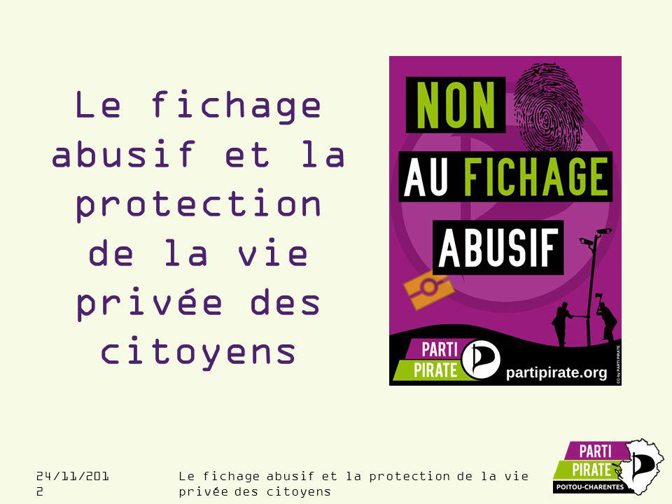 24/11/201 2 Sujets abordés Présentation Etat des lieux du fichage en France Comment limiter le fichage et la surveillance .