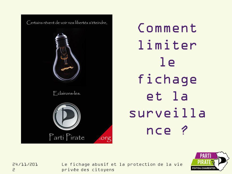 Le fichage abusif et la protection de la vie privée des citoyens 24/11/201 2 Comment limiter le fichage et la surveilla nce ?