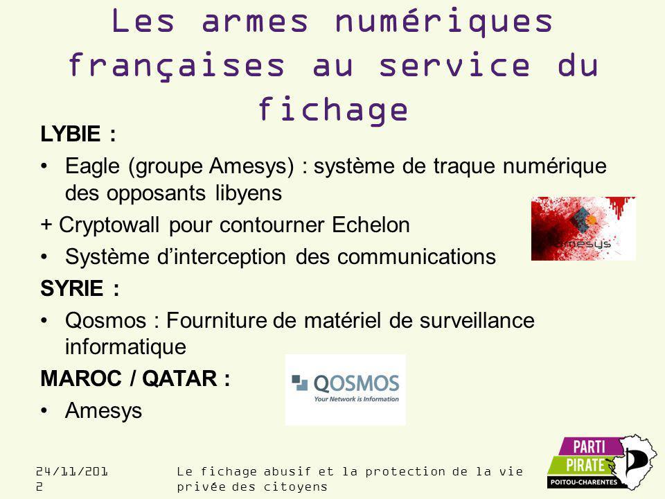 Le fichage abusif et la protection de la vie privée des citoyens 24/11/201 2 Les armes numériques françaises au service du fichage LYBIE : Eagle (groupe Amesys) : système de traque numérique des opposants libyens + Cryptowall pour contourner Echelon Système d'interception des communications SYRIE : Qosmos : Fourniture de matériel de surveillance informatique MAROC / QATAR : Amesys