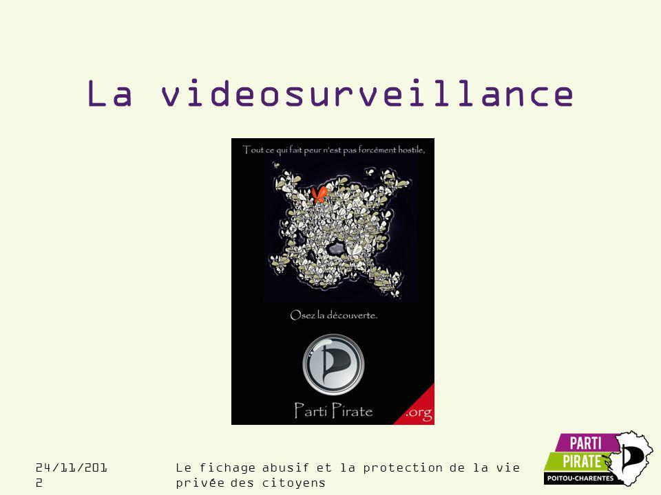 Le fichage abusif et la protection de la vie privée des citoyens 24/11/201 2 La videosurveillance