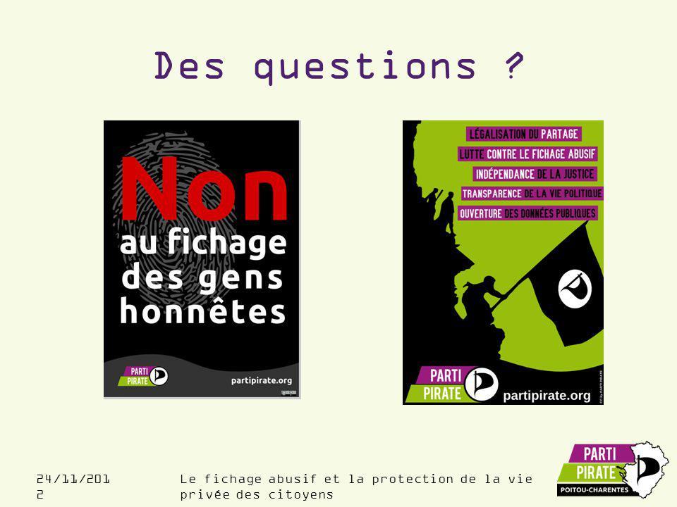 Le fichage abusif et la protection de la vie privée des citoyens 24/11/201 2 Des questions ?