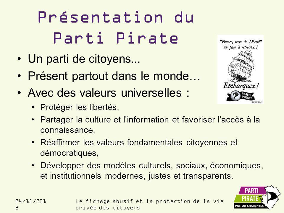 Le fichage abusif et la protection de la vie privée des citoyens 24/11/201 2 Présentation du Parti Pirate Un parti de citoyens...