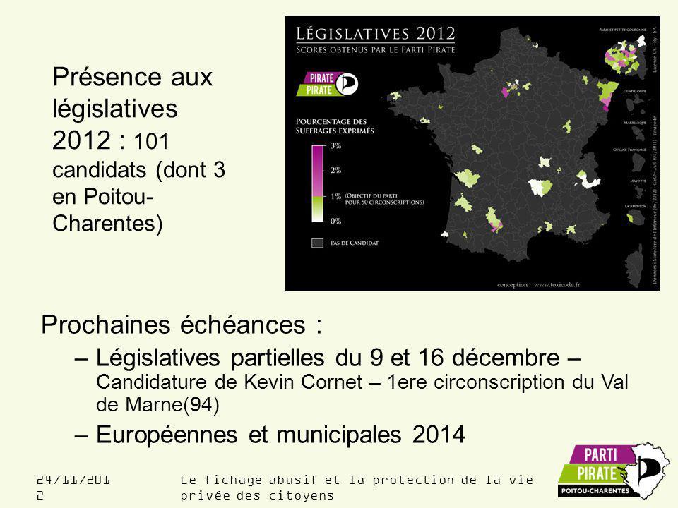 Le fichage abusif et la protection de la vie privée des citoyens 24/11/201 2 Prochaines échéances : –Législatives partielles du 9 et 16 décembre – Candidature de Kevin Cornet – 1ere circonscription du Val de Marne(94) –Européennes et municipales 2014 Présence aux législatives 2012 : 101 candidats (dont 3 en Poitou- Charentes)