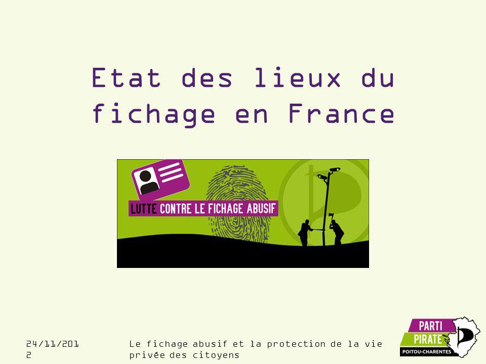 Le fichage abusif et la protection de la vie privée des citoyens 24/11/201 2 Les fichiers…