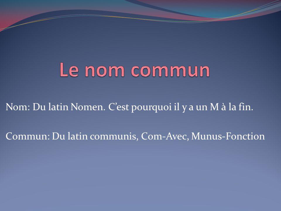 Nom: Du latin Nomen. C'est pourquoi il y a un M à la fin. Commun: Du latin communis, Com-Avec, Munus-Fonction