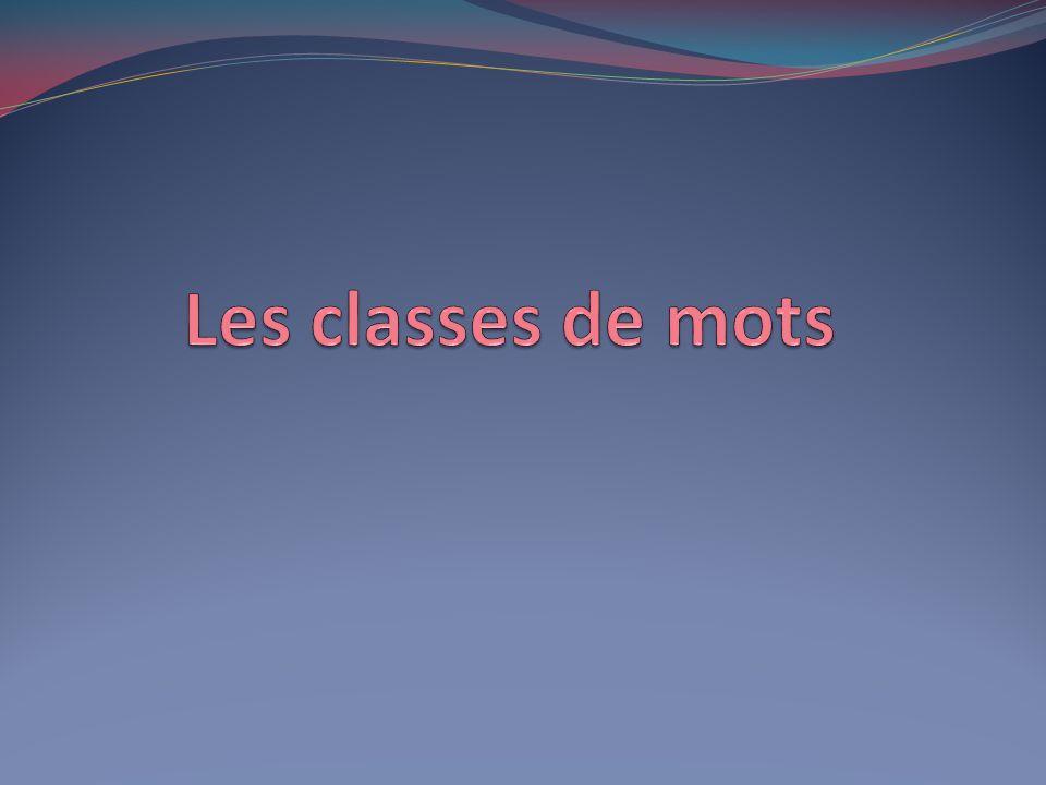 Définition Une classe de mots est une catégorie grammaticale qui réunit plusieurs mots ayant des caractéristiques communes.