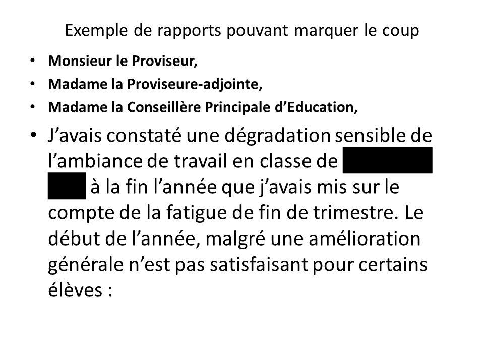 Exemple de rapports pouvant marquer le coup Monsieur le Proviseur, Madame la Proviseure-adjointe, Madame la Conseillère Principale d'Education, J'avai