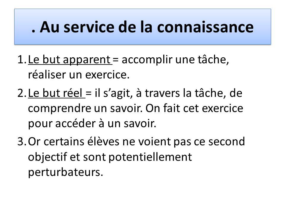 . Au service de la connaissance 1.Le but apparent = accomplir une tâche, réaliser un exercice. 2.Le but réel = il s'agit, à travers la tâche, de compr