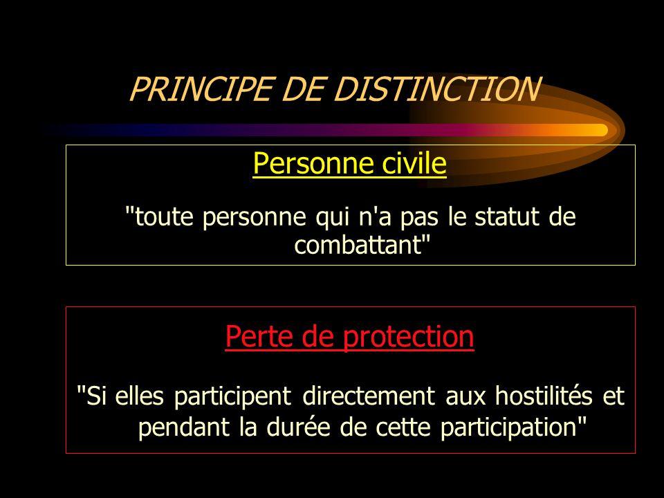 PRINCIPE DE DISTINCTION Bien civil tout bien qui n est pas un objectif militaire.