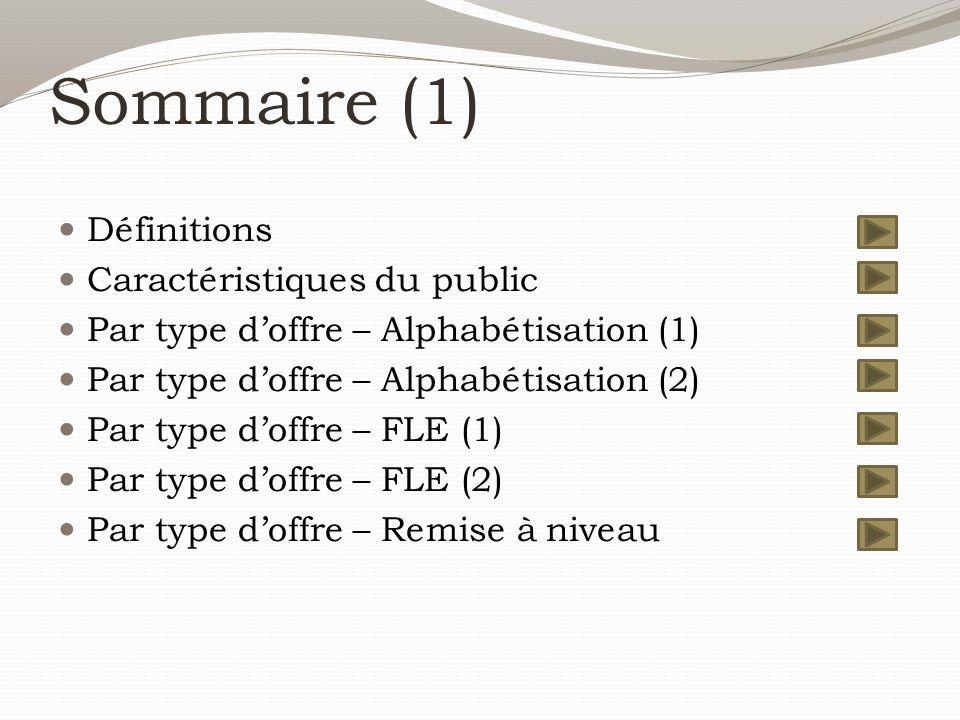 Sommaire (1) Définitions Caractéristiques du public Par type d'offre – Alphabétisation (1) Par type d'offre – Alphabétisation (2) Par type d'offre – FLE (1) Par type d'offre – FLE (2) Par type d'offre – Remise à niveau