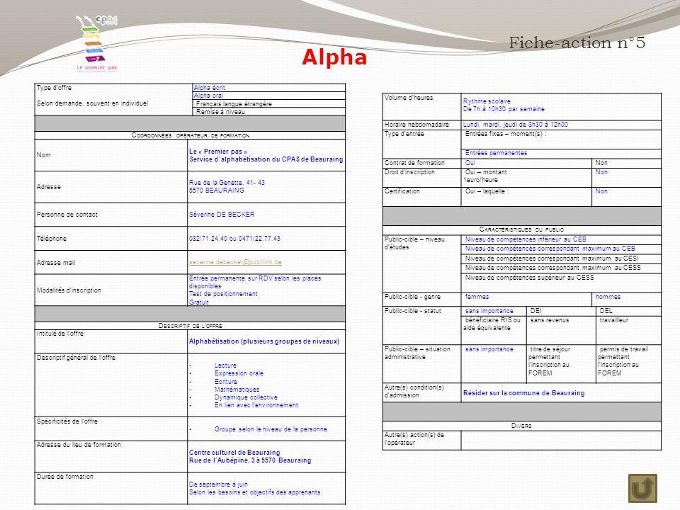 Fiche-action n°5 Volume d'heures Rythme scolaire De 7h à 10h30 par semaine Horaire hebdomadaireLundi, mardi, jeudi de 8h30 à 12h00 Type d'entrée Entrées fixes – moment(s) : Entrées permanentes Contrat de formation Oui Non Droit d'inscription Oui – montant : 1euro/heure Non Certification Oui – laquelle : Non C ARACTÉRISTIQUES DU PUBLIC Public-cible – niveau d'études Niveau de compétences inférieur au CEB Niveau de compétences correspondant maximum au CEB Niveau de compétences correspondant maximum au CESI Niveau de compétences correspondant maximum au CESS Niveau de compétences supérieur au CESS Public-cible - genre femmes hommes Public-cible - statut sans importance DEI DEL bénéficiaire RIS ou aide équivalente sans revenus travailleur Public-cible – situation administrative sans importance titre de séjour permettant l'inscription au FOREM permis de travail permettant l'inscription au FOREM Autre(s) condition(s) d'admission Résider sur la commune de Beauraing D IVERS Autre(s) action(s) de l'opérateur Type d'offre Selon demande, souvent en individuel Alpha écrit Alpha oral Français langue étrangère Remise à niveau C OORDONNÉES OPÉRATEUR DE FORMATION Nom Le « Premier pas » Service d'alphabétisation du CPAS de Beauraing Adresse Rue de la Genette, 41- 43 5570 BEAURAING Personne de contact Séverine DE BECKER Téléphone 082/71.24.40 ou 0471/22.77.43 Adresse mail severine.debecker@publilink.be Modalités d'inscription Entrée permanente sur RDV selon les places disponibles Test de positionnement Gratuit D ESCRIPTIF DE L ' OFFRE Intitulé de l'offre Alphabétisation (plusieurs groupes de niveaux) Descriptif général de l'offre - Lecture - Expression orale - Ecriture - Mathématiques - Dynamique collective - En lien avec l'environnement Spécificités de l'offre - Groupe selon le niveau de la personne Adresse du lieu de formation Centre culturel de Beauraing Rue de l'Aubépine, 3 à 5570 Beauraing Durée de formation De septembre à juin Selon les besoins et objectifs des apprenants Alpha