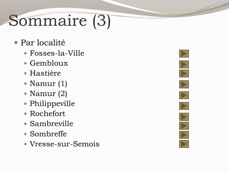 Sommaire (3) Par localité Fosses-la-Ville Gembloux Hastière Namur (1) Namur (2) Philippeville Rochefort Sambreville Sombreffe Vresse-sur-Semois