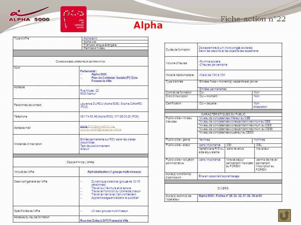 Fiche-action n°22 Type d'offre Alpha écrit Alpha oral Français langue étrangère Remise à niveau C OORDONNÉES OPÉRATEUR DE FORMATION Nom Partenariat : - Alpha 5000 - Plan de Cohésion Sociale (PCS) de Fosses-la-Ville Adresse Rue Muzet, 22 5000 Namur Personnes de contact Laurence DURDU (Alpha 5000), Sophie CANARD (PCS) Téléphone 081/74.60.96 (Alpha 5000), 071/26.00.23 (PCS) Adresse mail alpha 5000@alpha5000.be;5000@alpha5000.be sophie.canard@fosses-la-ville.be Modalités d'inscription Entrée permanente sur RDV selon les places disponibles Test de positionnement Gratuit D ESCRIPTIF DE L ' OFFRE Intitulé de l'offre Alphabétisation (1 groupe multi-niveaux) Descriptif général de l'offre - Dynamique collective (groupe de 12-15 personnes) - Travail sur l'écriture et la lecture - Travail en fonction du rythme de chacun - Travail en lien avec l'environnement - Apprentissage ancré dans le quotidien Spécificités de l'offre - Un seul groupe multi-niveaux.