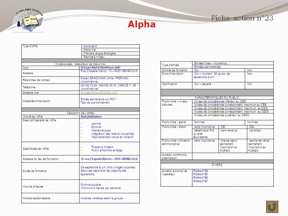 Fiche-action n°23 Type d'offre Alpha écrit Alpha oral Français langue étrangère Remise à niveau C OORDONNÉES OPÉRATEUR DE FORMATION Nom Groupe Alpha Gembloux asbl Adresse Rue Chapelle Marion, 13 – 5030 GEMBLOUX Personnes de contact Robert BRACKMAN, Anne YPERMAN (coordinatrice) Téléphone 081/62.72.84, 0494/60.24.40, 0496/25.71.95 (coordinatrice) Adresse mail alphagembloux@hotmail.com Modalités d'inscription Entrée permanente sur RDV Test de positionnement D ESCRIPTIF DE L ' OFFRE Intitulé de l'offre Alphabétisation Descriptif général de l'offre - Lecture - Ecriture - Mathématiques - Intégration des valeurs citoyennes - Majoritairement travail en collectif Spécificités de l'offre - Plusieurs niveaux - Public allophone et belge Adresse du lieu de formation13 rue Chapelle Marion – 5030 GEMBLOUX Durée de formation De septembre à juin (hors congés scolaires) Selon les besoins et les objectifs des apprenants Volume d'heures Rythme scolaire Minimum 6 heures par semaine Horaire hebdomadaire Horaires variables selon le groupe Type d'entrée Entrées fixes – moment(s) : Entrées permanentes Contrat de formation Oui Non Droit d'inscription Oui – montant : 50 euros.