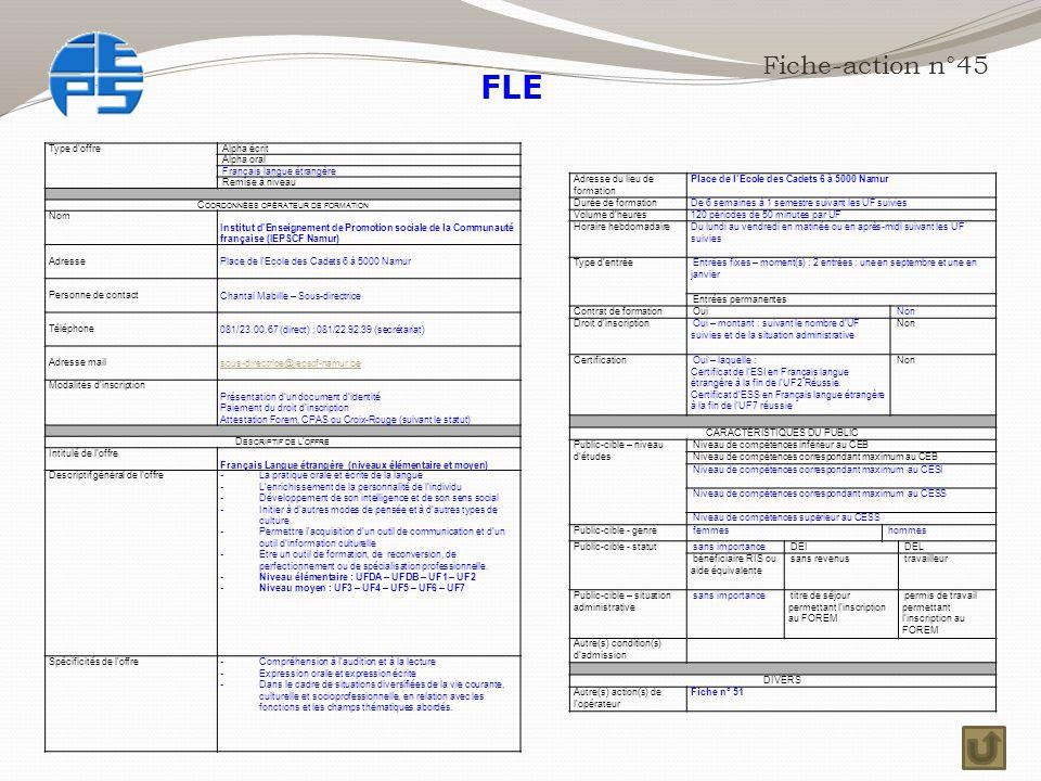 Fiche-action n°45 Type d'offre Alpha écrit Alpha oral Français langue étrangère Remise à niveau C OORDONNÉES OPÉRATEUR DE FORMATION Nom Institut d'Enseignement de Promotion sociale de la Communauté française (IEPSCF Namur) Adresse Place de l'Ecole des Cadets 6 à 5000 Namur Personne de contact Chantal Mabille – Sous-directrice Téléphone 081/23.00.67 (direct) ; 081/22.92.39 (secrétariat) Adresse mail sous-directrice@iepscf-namur.be Modalités d'inscription Présentation d'un document d'identité Paiement du droit d'inscription Attestation Forem, CPAS ou Croix-Rouge (suivant le statut) D ESCRIPTIF DE L ' OFFRE Intitulé de l'offre Français Langue étrangère (niveaux élémentaire et moyen) Descriptif général de l'offre - La pratique orale et écrite de la langue - L'enrichissement de la personnalité de l'individu - Développement de son intelligence et de son sens social - Initier à d'autres modes de pensée et à d'autres types de culture - Permettre l'acquisition d'un outil de communication et d'un outil d'information culturelle - Etre un outil de formation, de reconversion, de perfectionnement ou de spécialisation professionnelle.