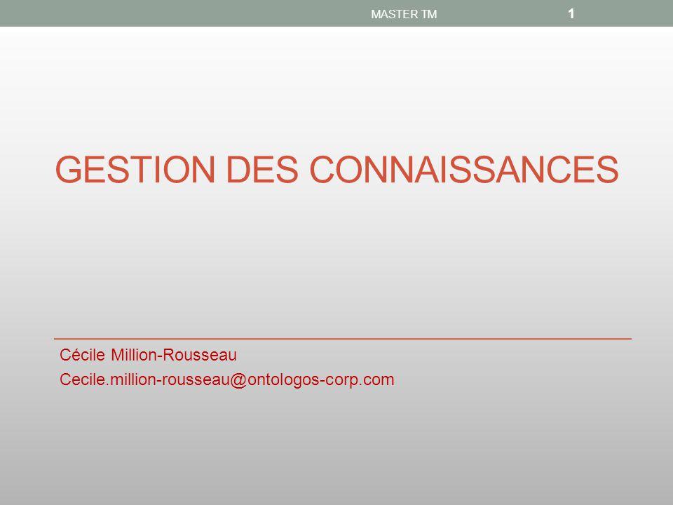 GESTION DES CONNAISSANCES Cécile Million-Rousseau Cecile.million-rousseau@ontologos-corp.com MASTER TM 1