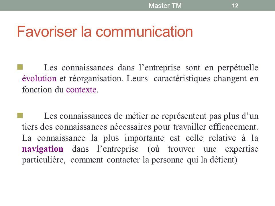 Favoriser la communication Les connaissances dans l'entreprise sont en perpétuelle évolution et réorganisation.