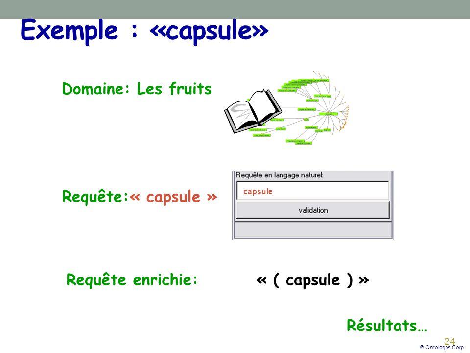24 Exemple : «capsule» Domaine: Les fruits Requête:« capsule » Résultats… capsule Requête enrichie:« ( capsule ) » © Ontologos Corp.