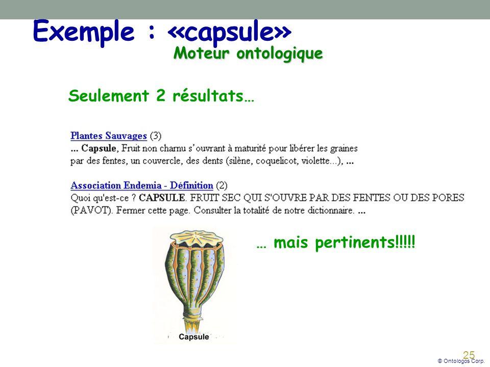 25 Exemple : «capsule» Moteur ontologique Seulement 2 résultats… … mais pertinents!!!!.