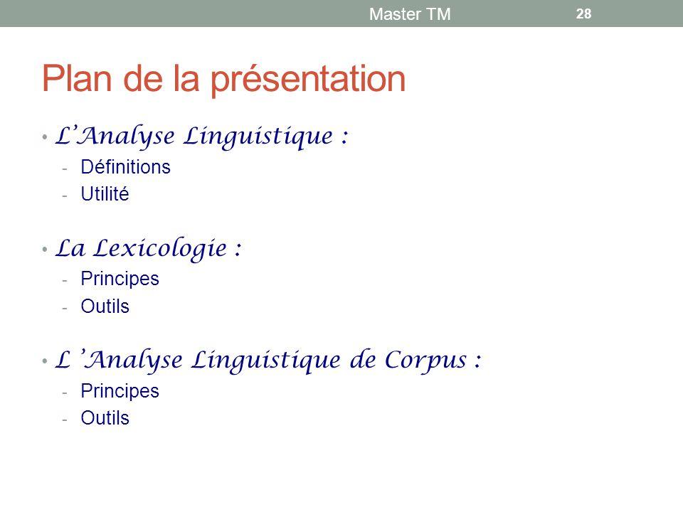 Plan de la présentation L'Analyse Linguistique :  Définitions  Utilité La Lexicologie :  Principes  Outils L 'Analyse Linguistique de Corpus :  Principes  Outils Master TM 28