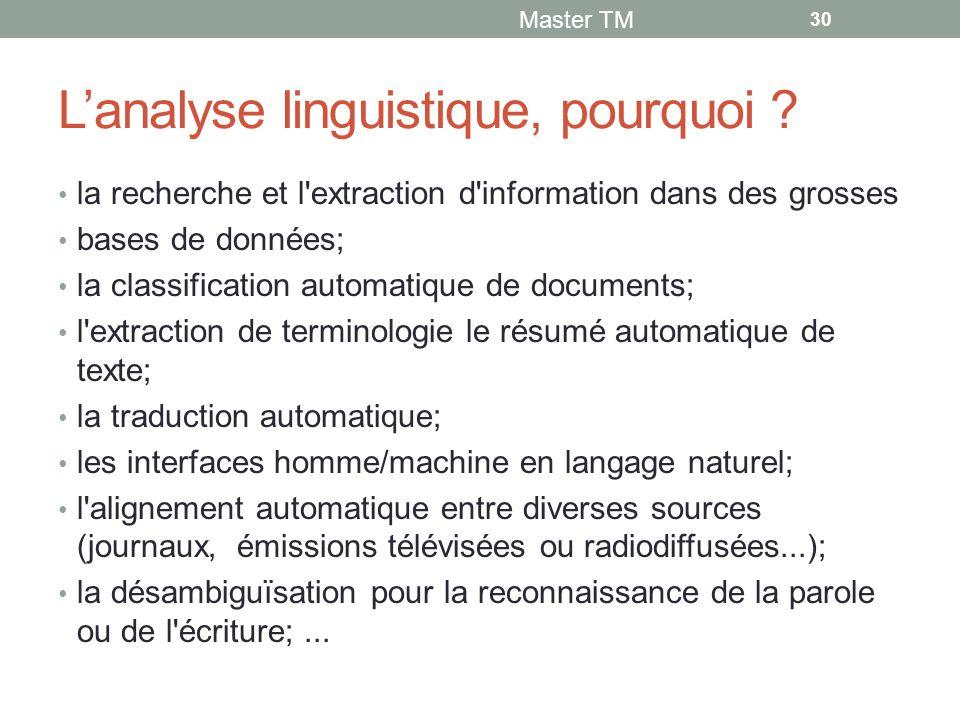 L'analyse linguistique, pourquoi .