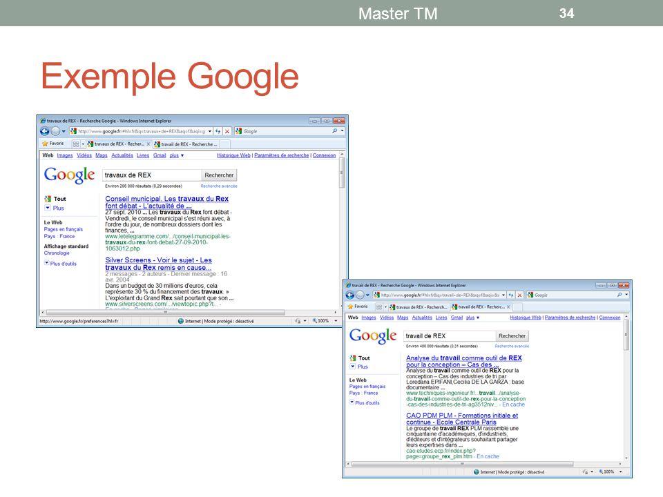 Exemple Google Master TM 34