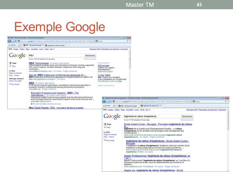 Exemple Google Master TM 43