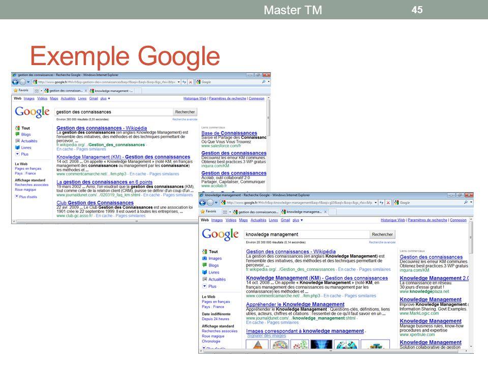 Exemple Google Master TM 45