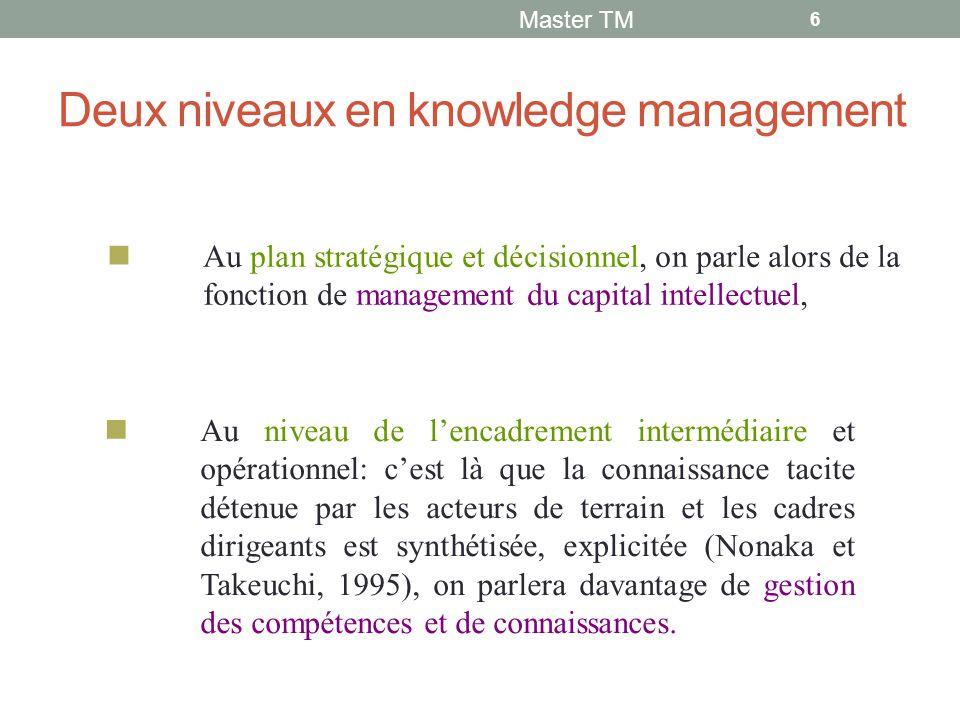 Deux niveaux en knowledge management Master TM 6 Au plan stratégique et décisionnel, on parle alors de la fonction de management du capital intellectuel, Au niveau de l'encadrement intermédiaire et opérationnel: c'est là que la connaissance tacite détenue par les acteurs de terrain et les cadres dirigeants est synthétisée, explicitée (Nonaka et Takeuchi, 1995), on parlera davantage de gestion des compétences et de connaissances.