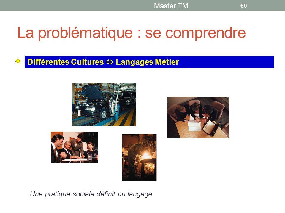 La problématique : se comprendre Master TM 60 Différentes Cultures  Langages Métier Une pratique sociale définit un langage