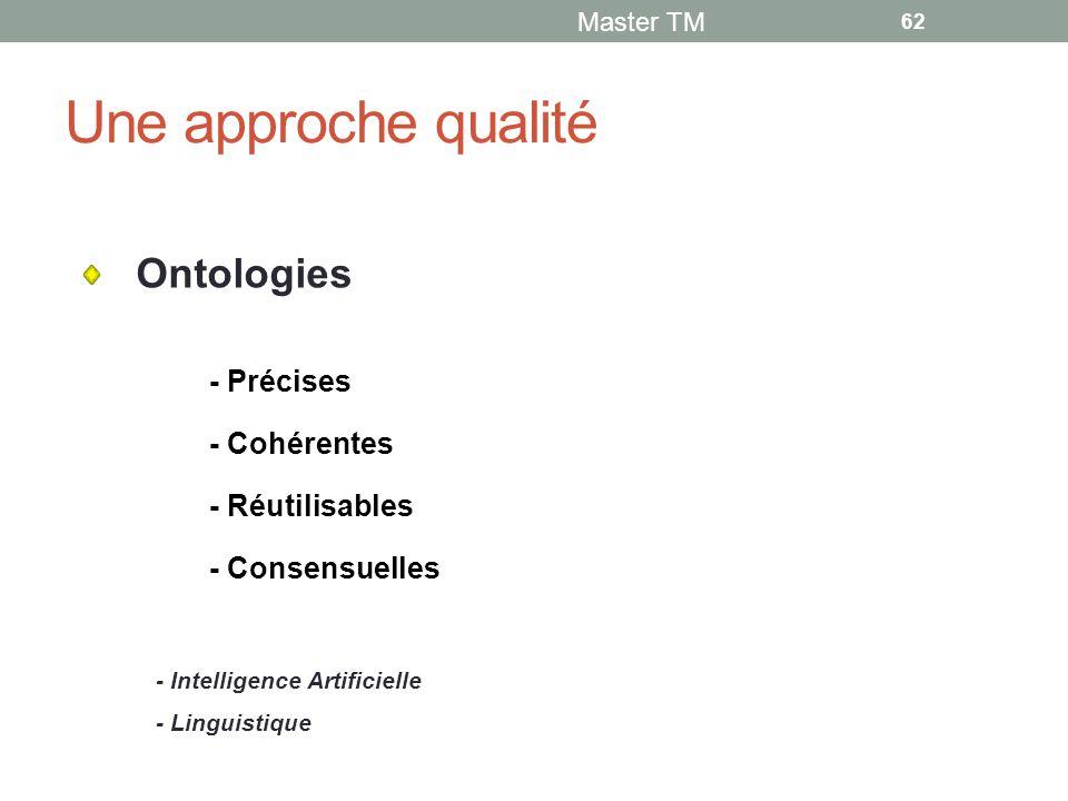 Une approche qualité Master TM 62 - Cohérentes - Précises - Réutilisables - Intelligence Artificielle - Linguistique - Consensuelles Ontologies