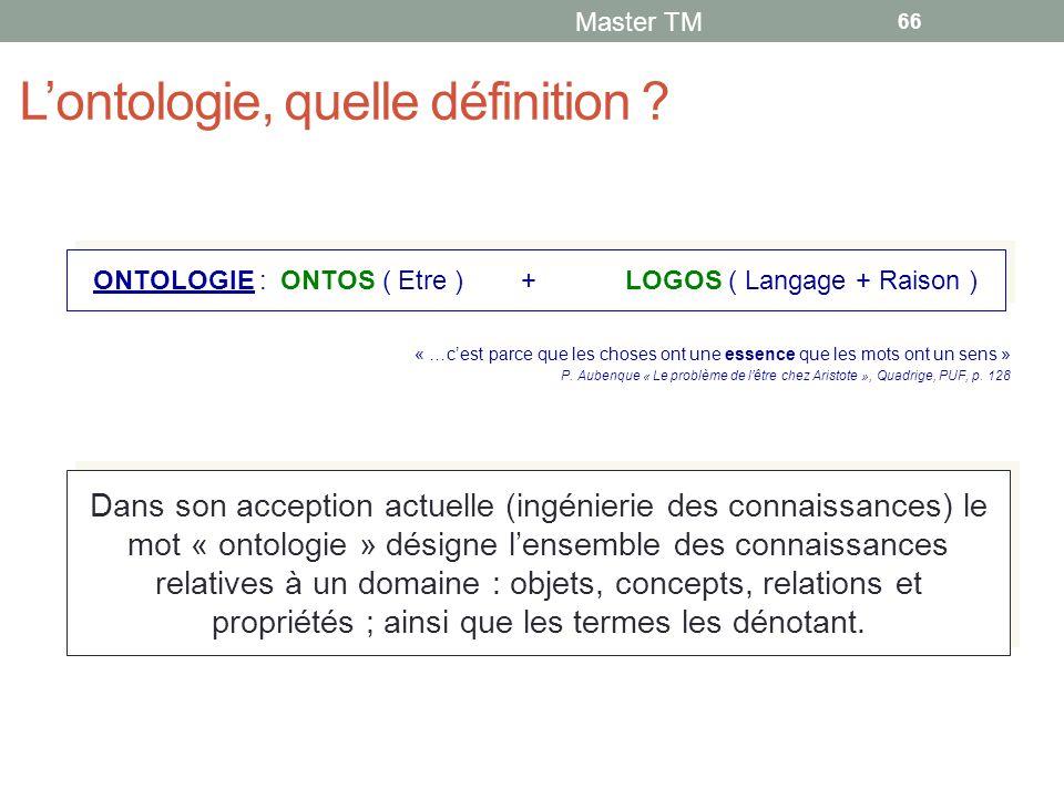 L'ontologie, quelle définition .