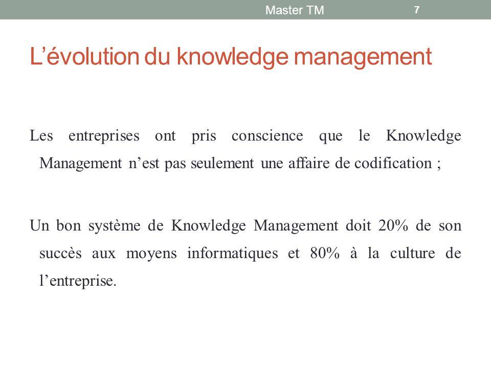 L'évolution du knowledge management Les entreprises ont pris conscience que le Knowledge Management n'est pas seulement une affaire de codification ; Un bon système de Knowledge Management doit 20% de son succès aux moyens informatiques et 80% à la culture de l'entreprise.