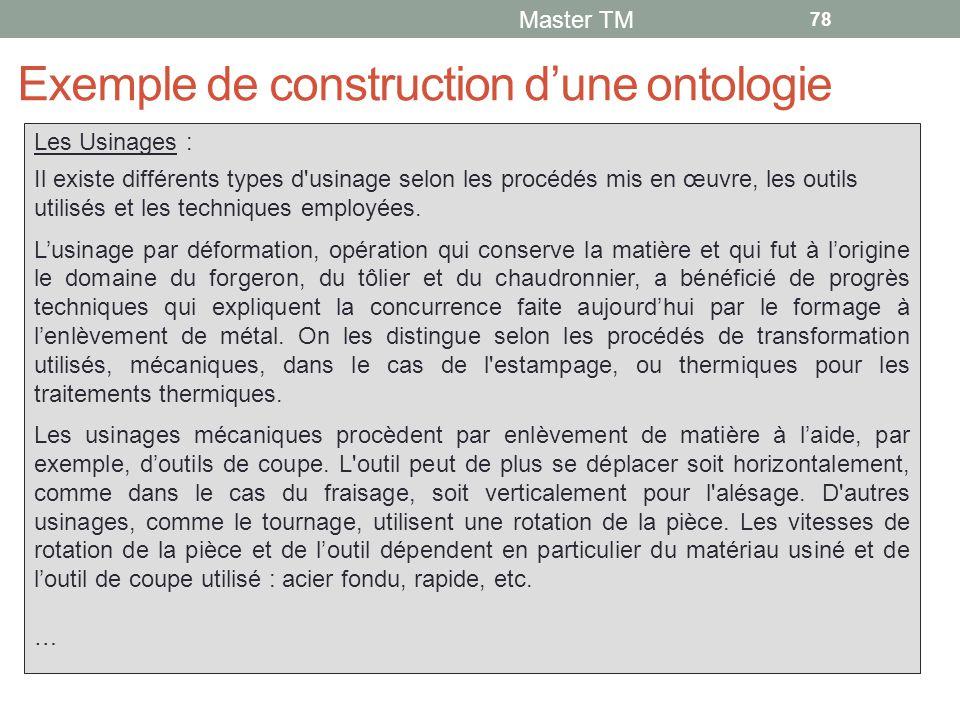 Exemple de construction d'une ontologie Master TM 78 Les Usinages : Il existe différents types d usinage selon les procédés mis en œuvre, les outils utilisés et les techniques employées.