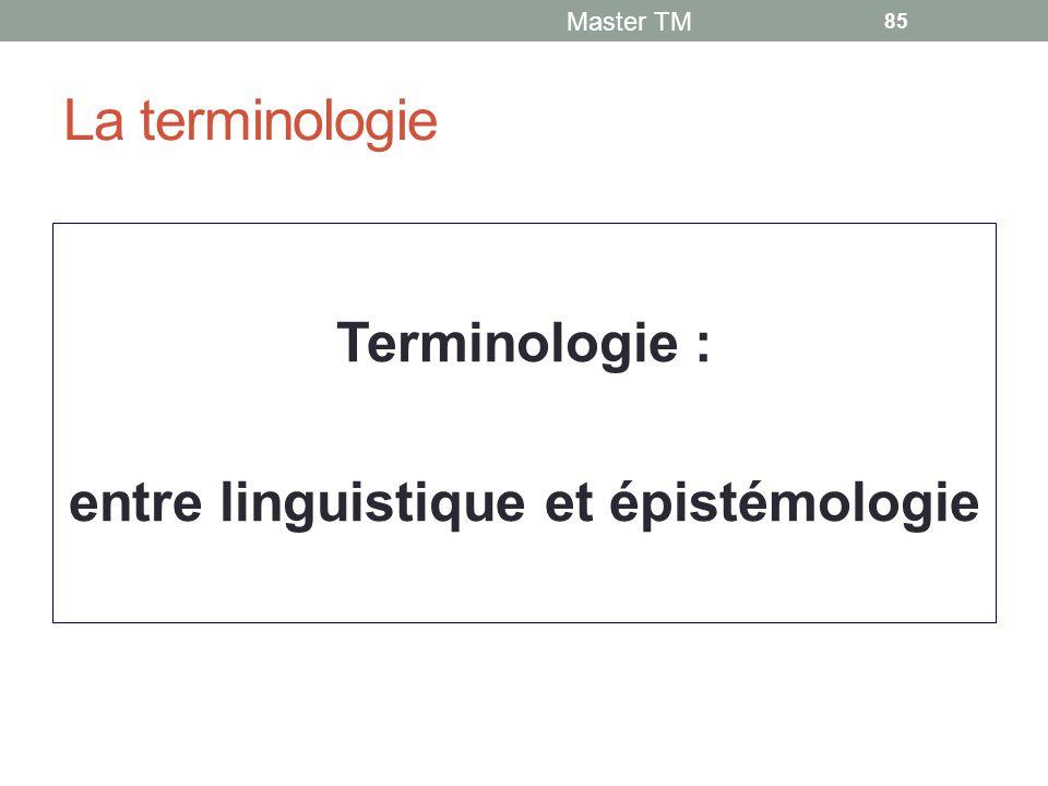 La terminologie Master TM 85 Terminologie : entre linguistique et épistémologie