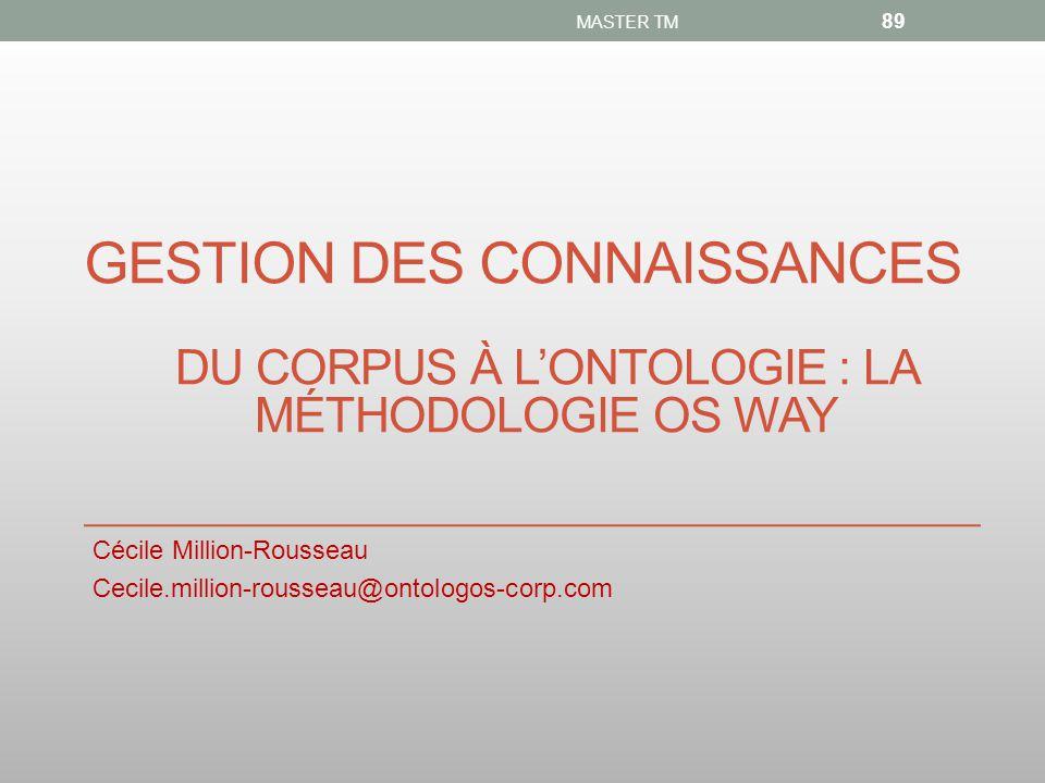 GESTION DES CONNAISSANCES Cécile Million-Rousseau Cecile.million-rousseau@ontologos-corp.com MASTER TM 89 DU CORPUS À L'ONTOLOGIE : LA MÉTHODOLOGIE OS WAY